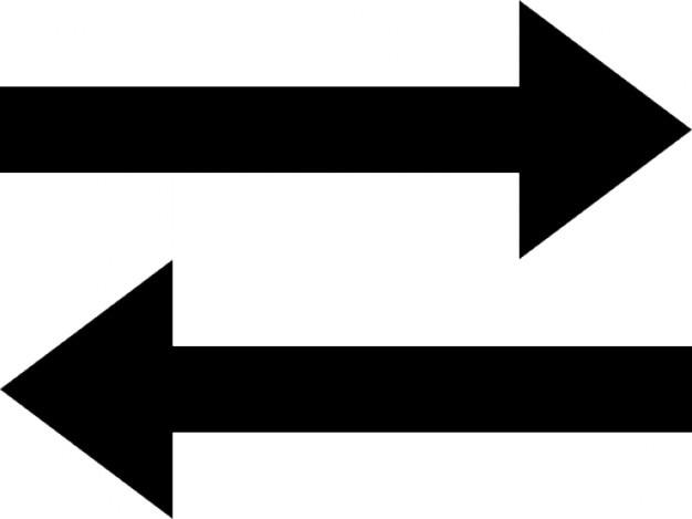 Due frecce che rappresentano il trasferimento Icone Gratuite