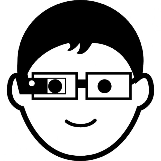 Giovane ragazzo con gli occhiali google scaricare icone