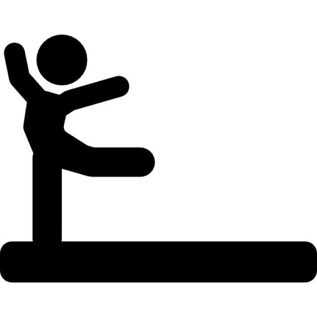 pratica ginnastica individuale postura silhouette nera di