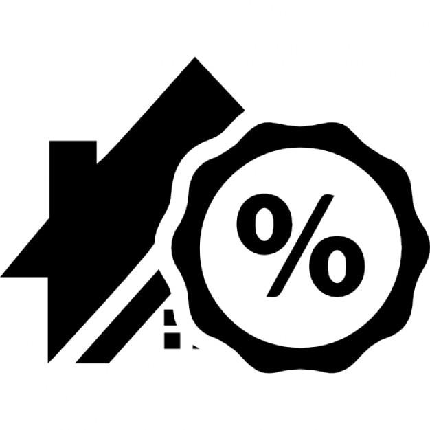 Simbolo di percentuale su una casa per il business immobiliare scaricare icone gratis - Percentuale di umidita in casa ...