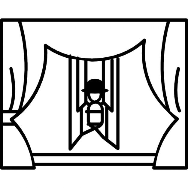 Spettacolo di burattini sul palco con le tende scaricare