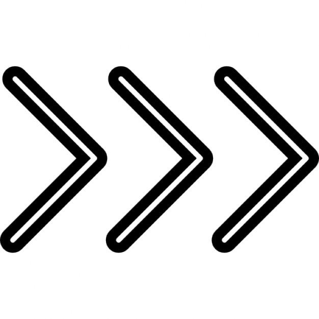 Drie Chevron Pijlen Naar Rechts Iconen Gratis Download