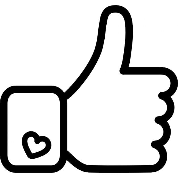 Facebook zoals hand-symbool overzicht Gratis Icoon