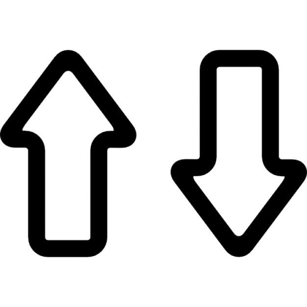 Pijlen omhoog en omlaag schetst paar Iconen   Gratis Download