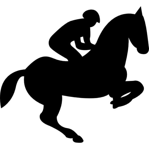 Springen Paard Met Jockey Silhouet Iconen