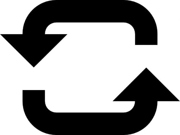 Twee pijlen met een cirkel Gratis Icoon