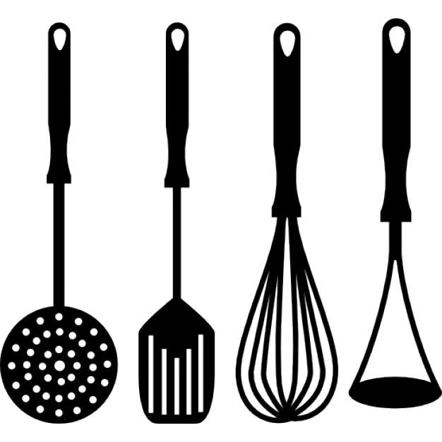 Vier koken accessoires voor de keuken Iconen   Gratis Download
