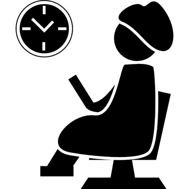 Vrouw zit te wachten op een kapsalon stoel observeren van de wandklok iconen gratis download - Hoe een vierkante salon te voorzien ...
