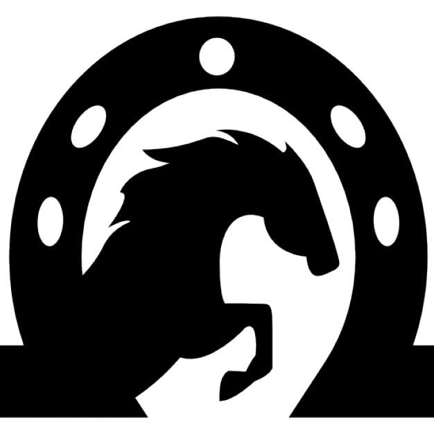 cabeça de cavalo dentro de uma ferradura download Ícones gratuitos