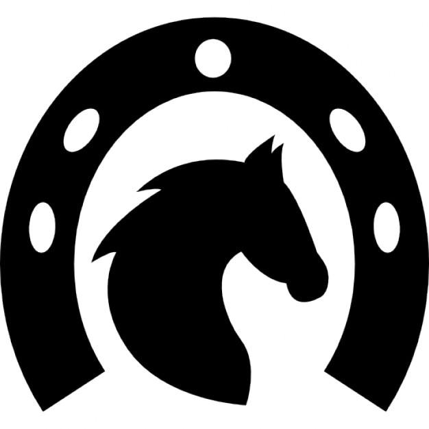 cabeça de cavalo em uma ferradura download Ícones gratuitos