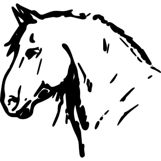 desenho da cabeça de cavalo de frente para a direção esquerda