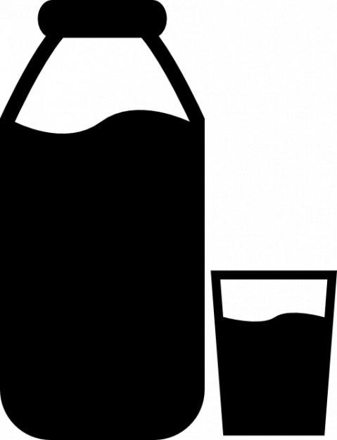 Garrafa de leite e um copo Ícone grátis