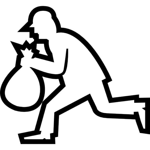 ladrão silhueta correndo com um saco download Ícones gratuitos