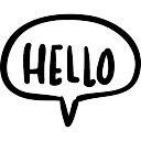 Bonjour bulle symbole main sur le Chat Icon gratuit