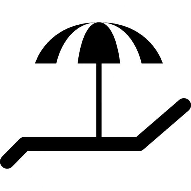 Chaise longue et un parasol pour le soleil t l charger icons gratuitement - Dessin parasol ...