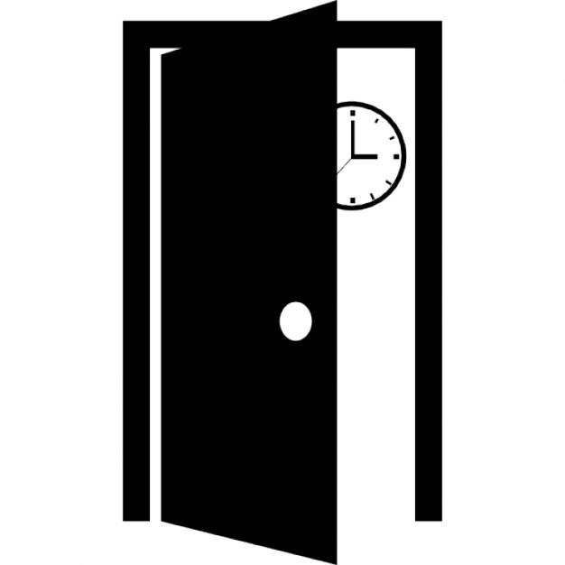 Classe de la porte ouverte et une horloge murale derri re for Porte ouverte dessin