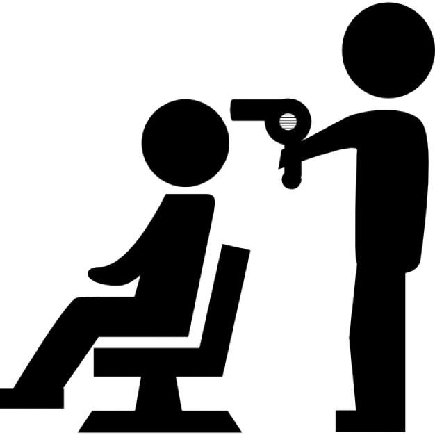 Coiffeur s chage des cheveux d 39 un client assis sur une for Abdos assis sur une chaise