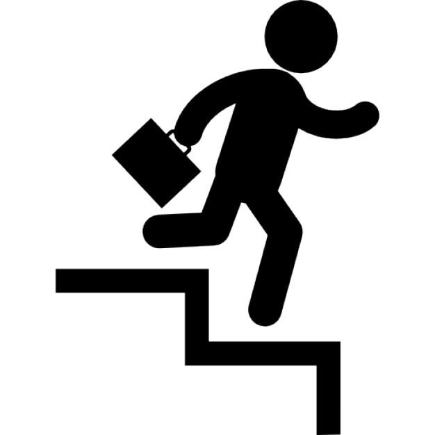 d 39 affaires de descendre par des marches d 39 escalier avec une valise dans sa main droite. Black Bedroom Furniture Sets. Home Design Ideas