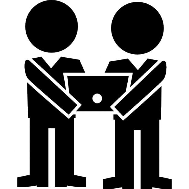 deux hommes titulaires d 39 un ordinateur t l charger icons. Black Bedroom Furniture Sets. Home Design Ideas