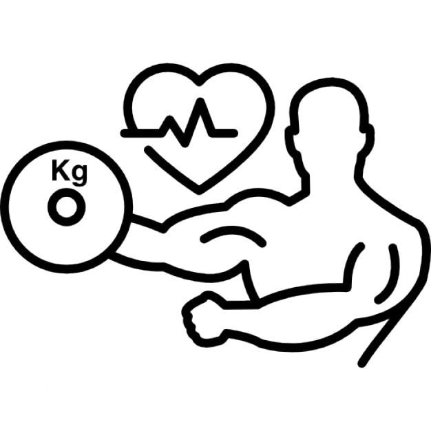 Gymnaste avec un halt re et en forme de coeur avec ligne - Caricature gratuite en ligne ...
