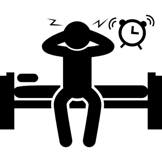 homme assis sur le lit se r veiller avec horloge alarme sonore t l charger icons gratuitement. Black Bedroom Furniture Sets. Home Design Ideas