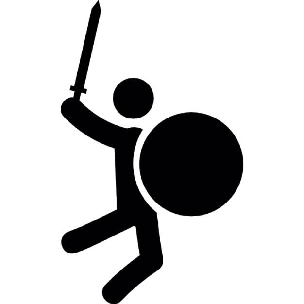 Homme combat avec l 39 p e et le bouclier circulaire for Dans jeannot et colin l auteur combat