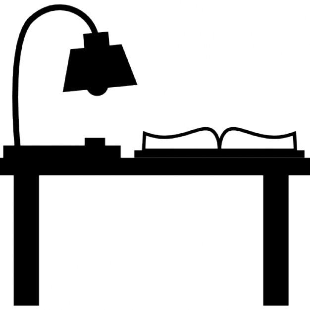 lumi re de la lampe et livre sur un bureau d 39 tude t l charger icons gratuitement. Black Bedroom Furniture Sets. Home Design Ideas
