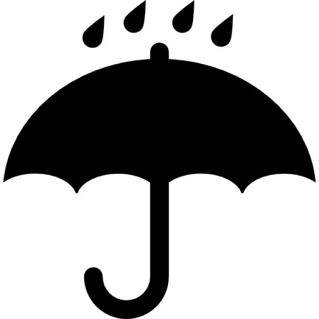 Ouvert noir symbole de parapluie avec des gouttes de pluie - Symbole de protection ...