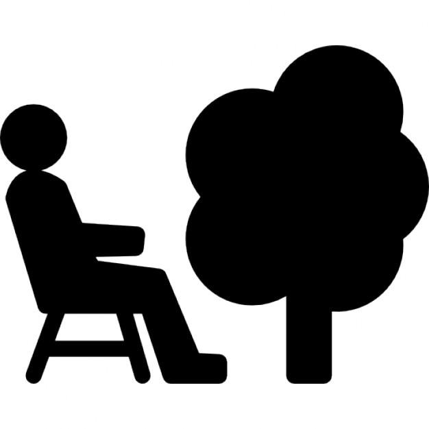 personne assise sur une chaise c t d 39 un arbre t l charger icons gratuitement. Black Bedroom Furniture Sets. Home Design Ideas
