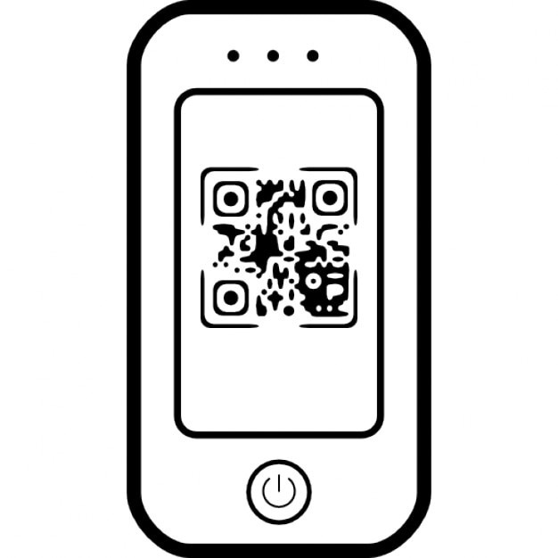 qr code sur l 39 cran de t l phone mobile t l charger icons gratuitement. Black Bedroom Furniture Sets. Home Design Ideas