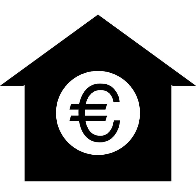 Symbole de l 39 euro ou d 39 une pi ce dans une maison noir silhouette - D ou vient l humidite dans une maison ...