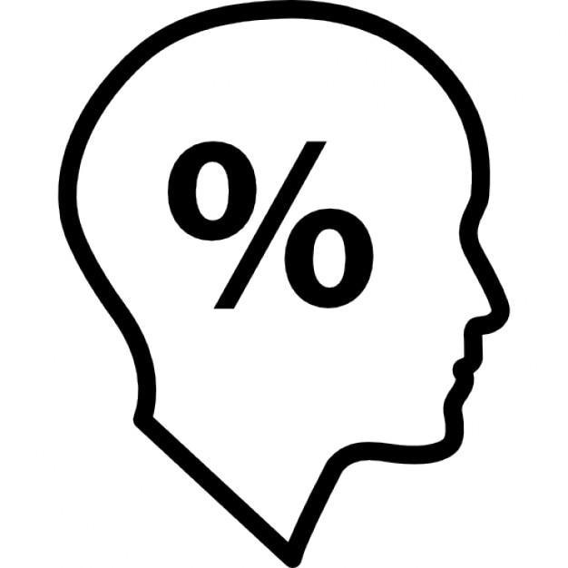 Symbole de pourcentage l 39 int rieur d 39 une t te d 39 homme d - Symbole tete de mort ...