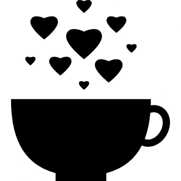 Tasse avec des bulles de coeur  Télécharger Icons