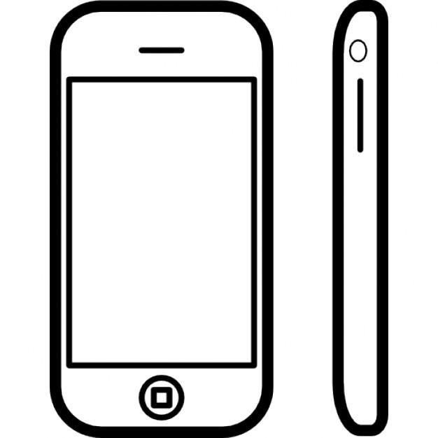 t l phone de forme arrondie d 39 un c t et vue de face t l charger icons gratuitement. Black Bedroom Furniture Sets. Home Design Ideas