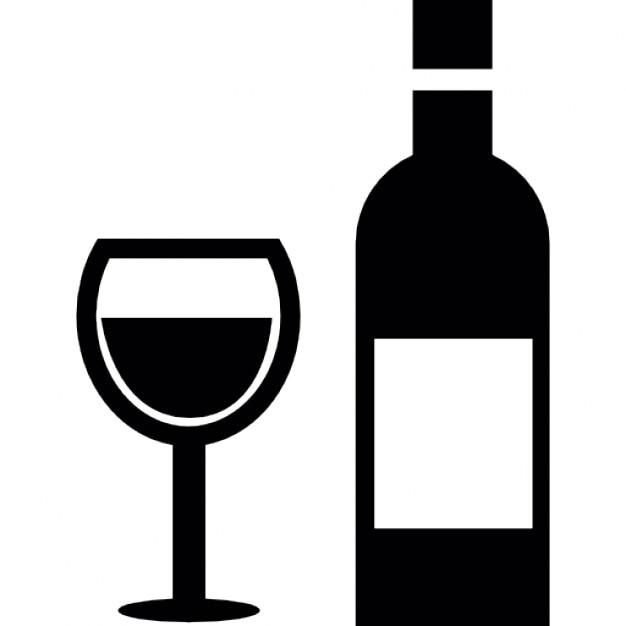 Verre et bouteille de vin t l charger icons gratuitement - Verre de vin dessin ...