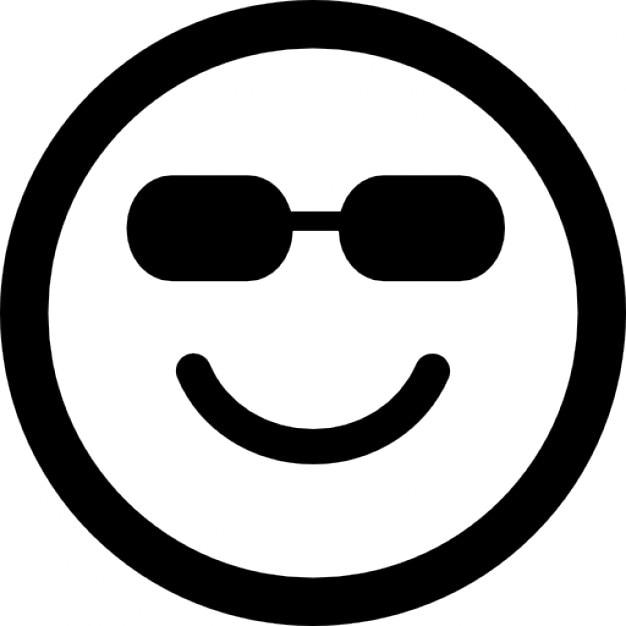 Feliz cara cuadrada emoticono sonriente con gafas de sol - Emoticono gafas de sol ...