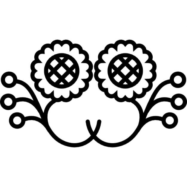 girasoles diseo efecto espejo con los brotes de flor icono gratis