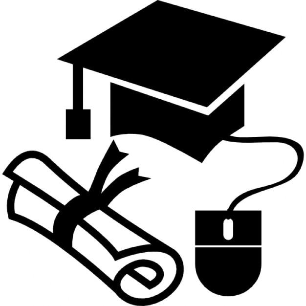 Gorra de graduación y diploma con un ratón Icono Gratis