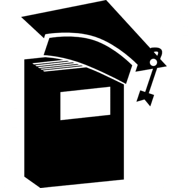 Gorro de graduación en un libro en posición vertical