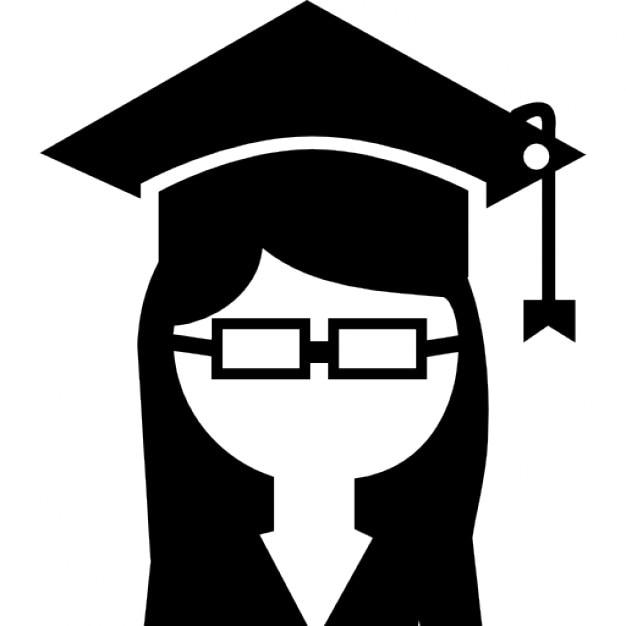 Graduado de la universidad femenina con gorro en la cabeza y anteojos