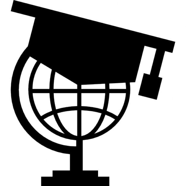 Planeta tierra con gorro de graduación Icono Gratis