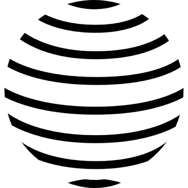 Planeta tierra con líneas horizontales paralelas patrón Icono Gratis