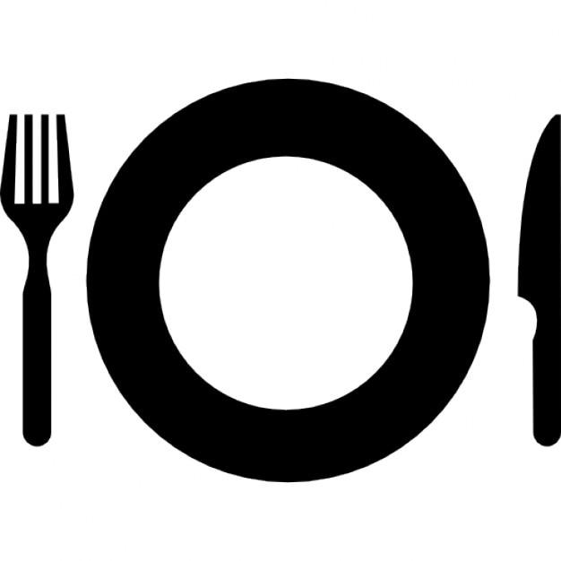Plato con un tenedor y un cuchillo de comer las for Plato tenedor y cuchillo