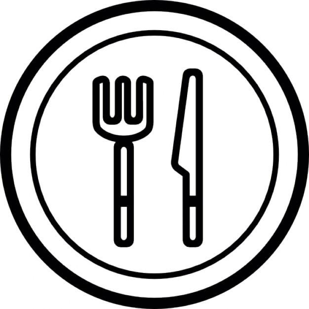 Plato cuchillo y tenedor descargar iconos gratis for Plato tenedor y cuchillo