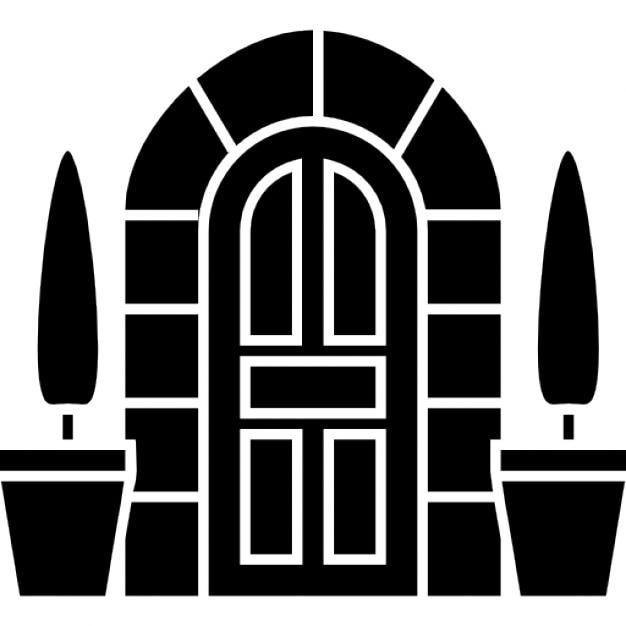 Puerta en forma de arco con dos peque os rboles en for Puertas en forma de arco