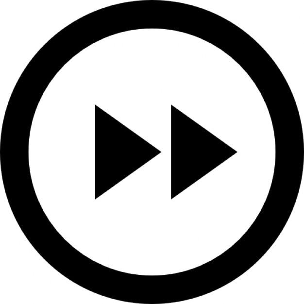 Puntas de flecha de avance rápido con botón | Descargar Iconos gratis