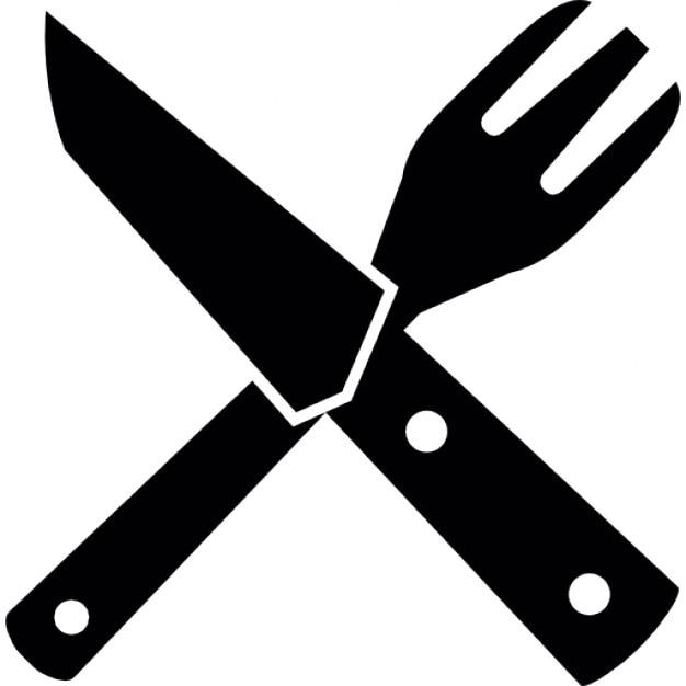 Restaurante s mbolo de una cruz de tenedor y cuchillo for Plato tenedor y cuchillo