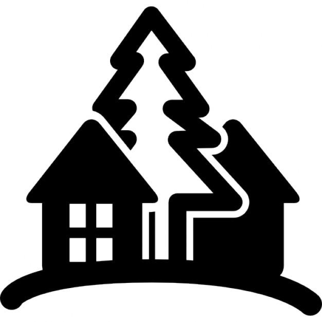 Rural caba a del hotel en una colina con rboles descargar iconos gratis - Logo casa rural ...