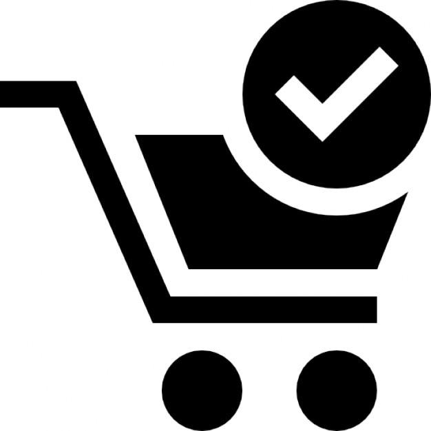 Símbolo carrito de la compra verificado Icono Gratis