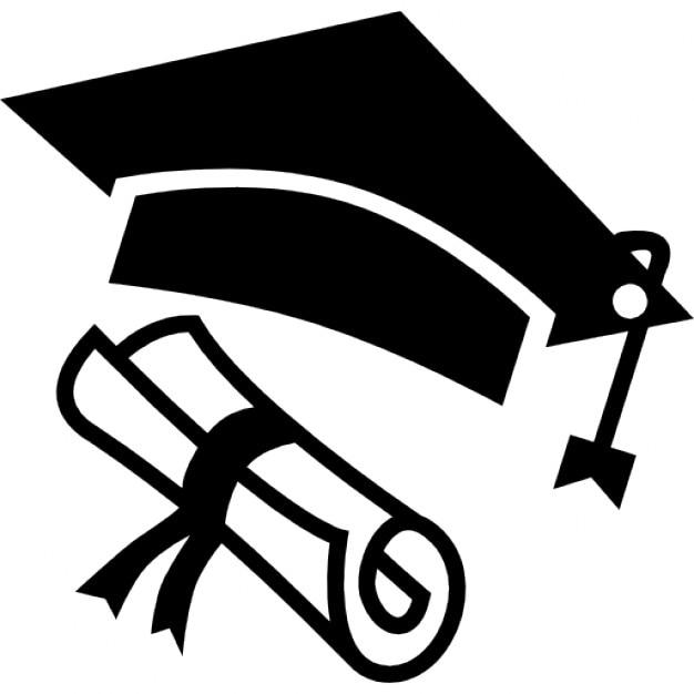 Sombrero de graduación y diploma Icono Gratis